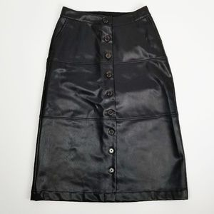 Who What Wear Skirts - Who What Wear faux leather button front midi skirt